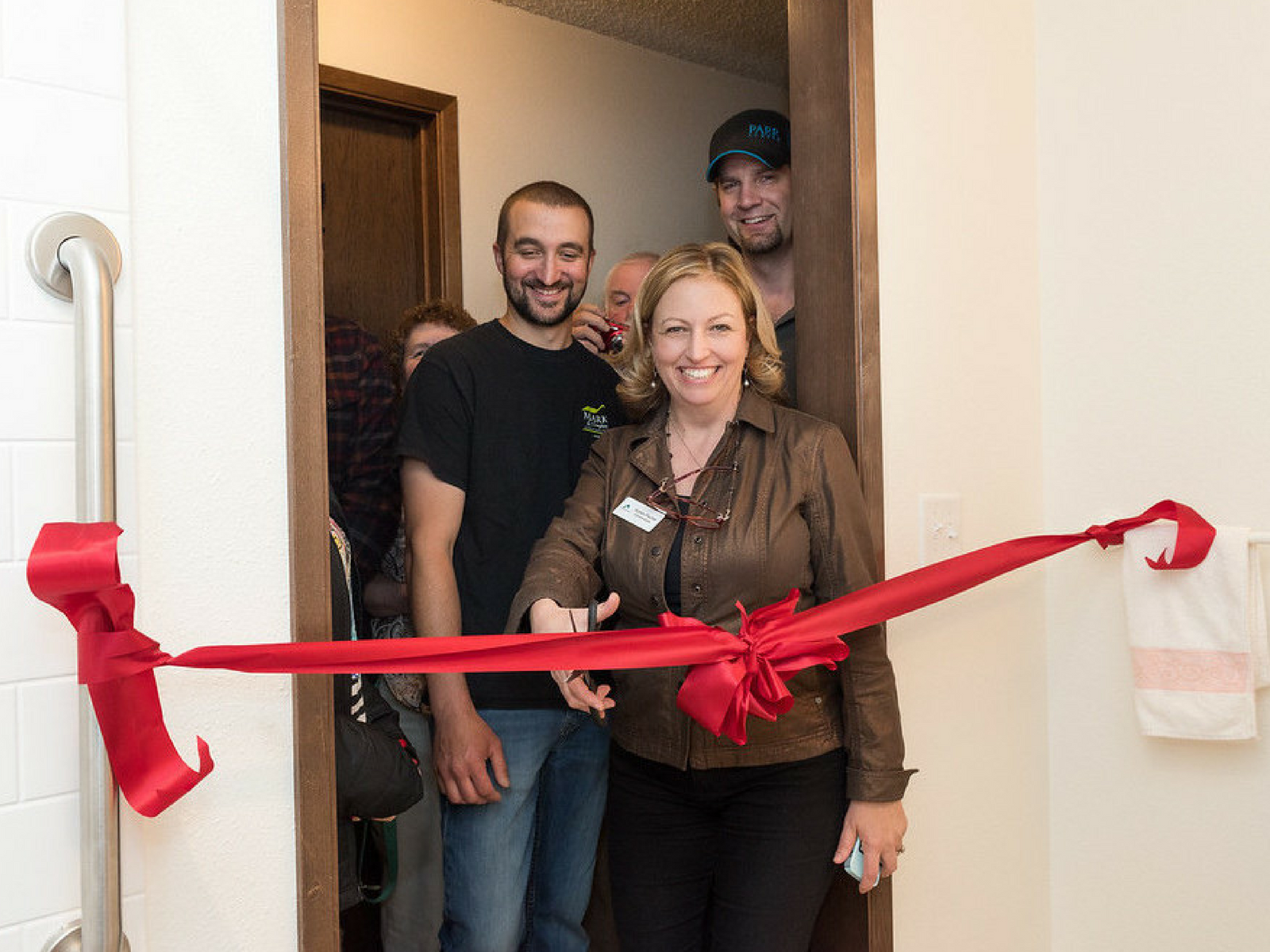 Ribbon Cutting for the Parker Family Bathroom